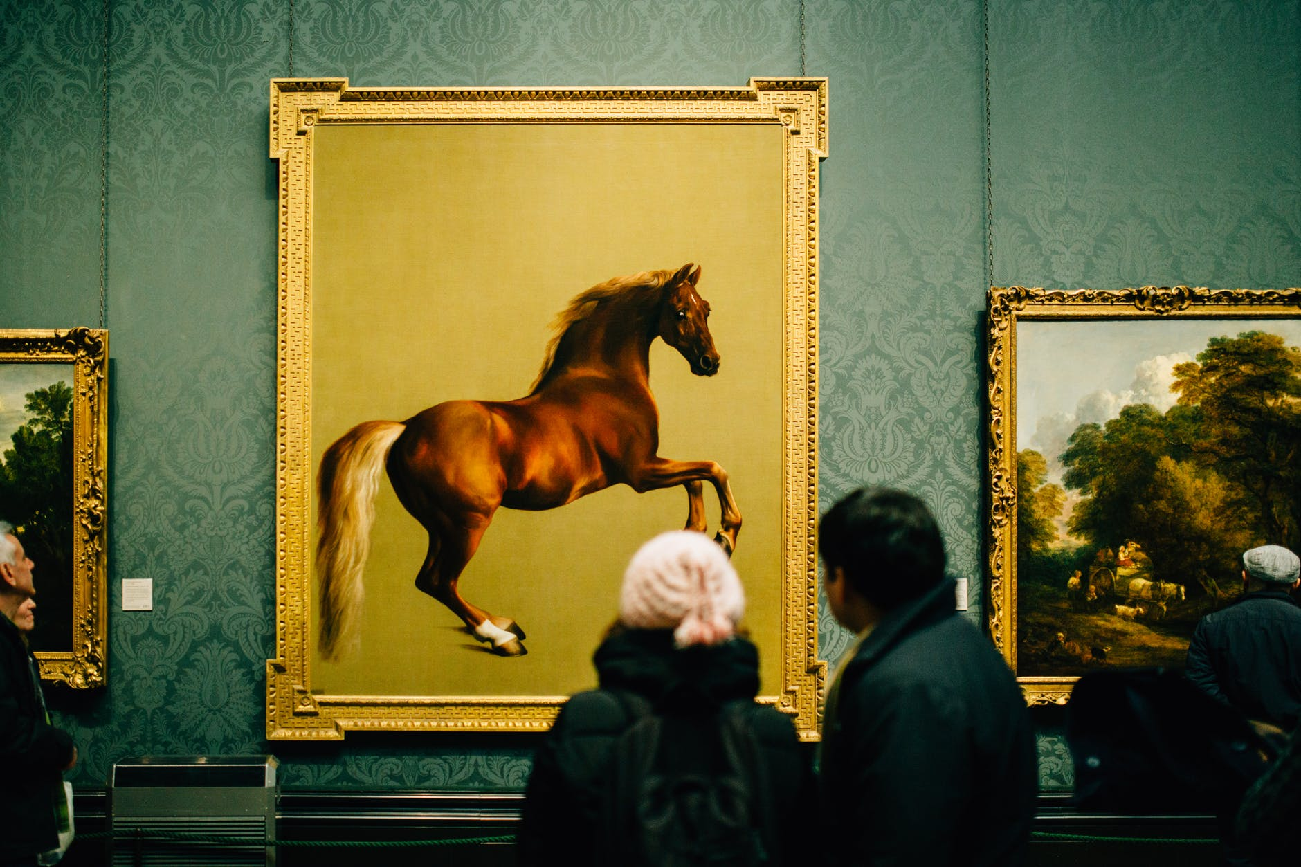 people waiting gallery horse